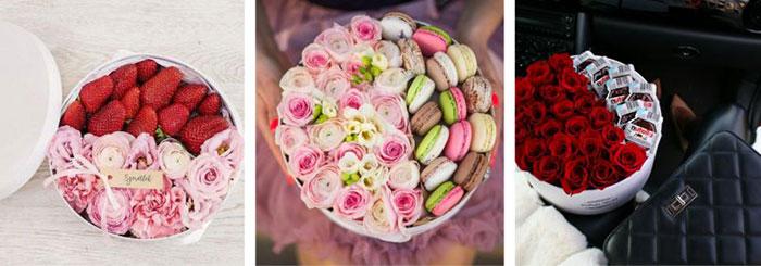 macaron, virág. virágdoboz, box, flower, nutella, eper, édesség, virágtrendek
