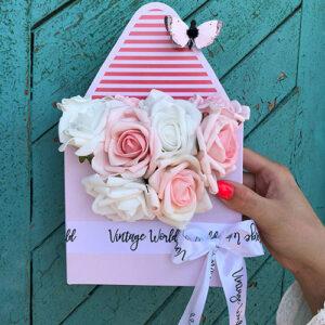 virágdoboz pink dreams habrózsa boríték rózsadoboz virágküldés