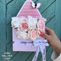 virágboríték, rózsaboríték, virág borítékban