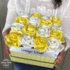 Virágdoboz, virágcsokor, virágbox, dobozos rózsa