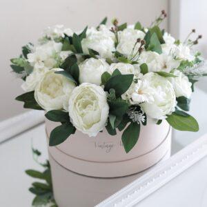 pasztell esküvői virágdoboz