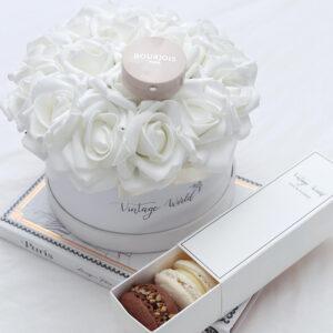 rózsadoboz macaron habrózsa rózsa ajándék smink