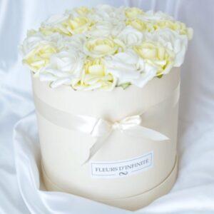 Szerelem Virágai Fehér - vajsárga extra rózsadoboz
